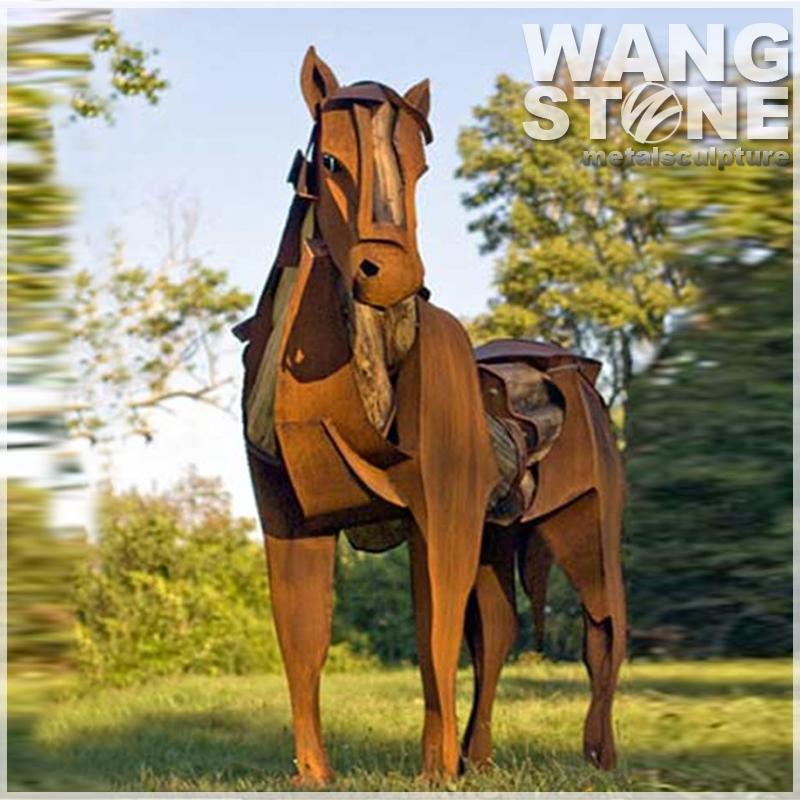 Antique Metal Life Size Corten Steel Horse Statue