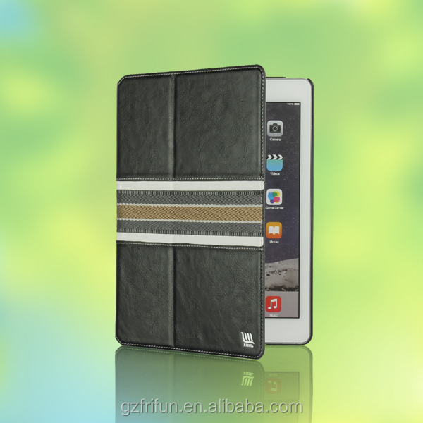 Stand tablet leather case cover for iPad air 2 magnetic new fashion OEM-Black