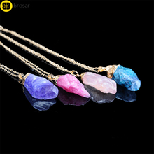 Fashion Charms Wholesale Natural Stone Jewelry Druzy Amethyst Geode Pendant Necklaces for Women Love Gift