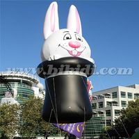 Giant helium rabbit balloon for easter decoration, cute parade bunny with magic cap K7151