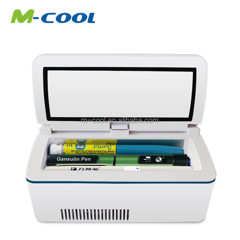 M-COOL hot sale 2016 24hours running samsung battery powered mini portable car refrigerator 12v-24v dc medical cooler box