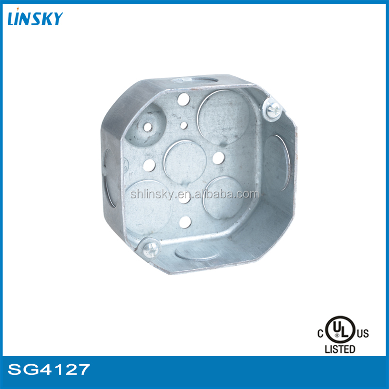 "1-1/2""depth electric junction box octagon wiring conduit junction box with covers knockout metal junction box"