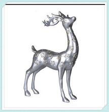 Resin Fashion Animal Figurine Silver Standing Spotted Deer Sculpture