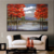 Modern Wall Natural red trees scenery oil painting Art Home Furniture Decoration abstract scenery oil painting