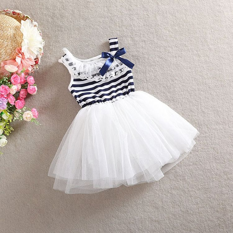 Baby Girls Clothes One-piece Summers Black White Stripes Tutu Dress