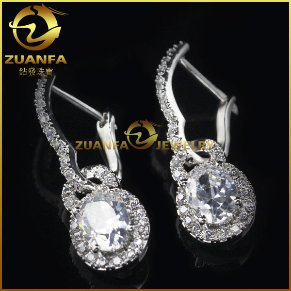 2014 oval zircon earrings wholesale graceful design high quality 925 sterling silver fashion zircon earrings