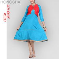 Latest Kurti Designs Blue-Red Glam Gaze Shantoon Jacket Kurti HSD1502