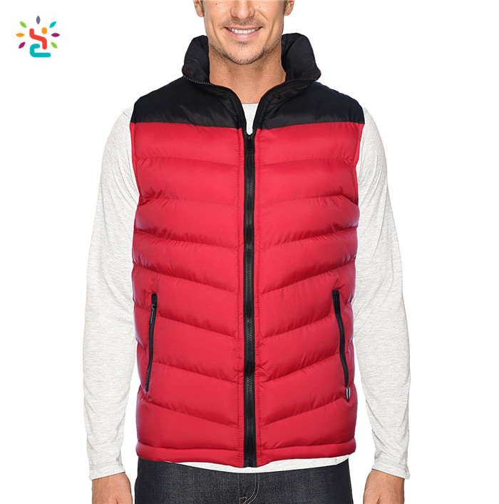 Wholesale puffer vest down vest mens quilted jacket sleeveless zip jacket 100% polyester cheap uniform vests