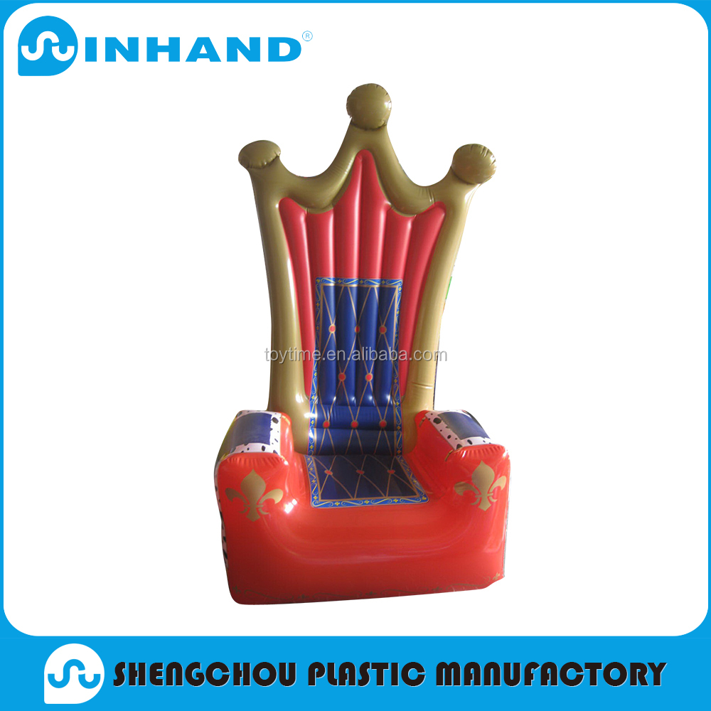 EN71 promotional customised pvc inflatable king sofa chair,home furniture general use arm chair