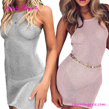 Pink Backless Bodycon Party Cover Up Sex Girls Beach Dress
