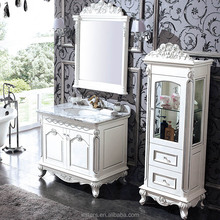 Glossy White Victorian Solid Wood Bathroom Vanity in Powder Room, Vintage Style Pegasus Bathroom Vanity with Bath Cabinet WTS320