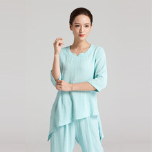 Hot selling blue tai chi uniform wushu clothes silk material