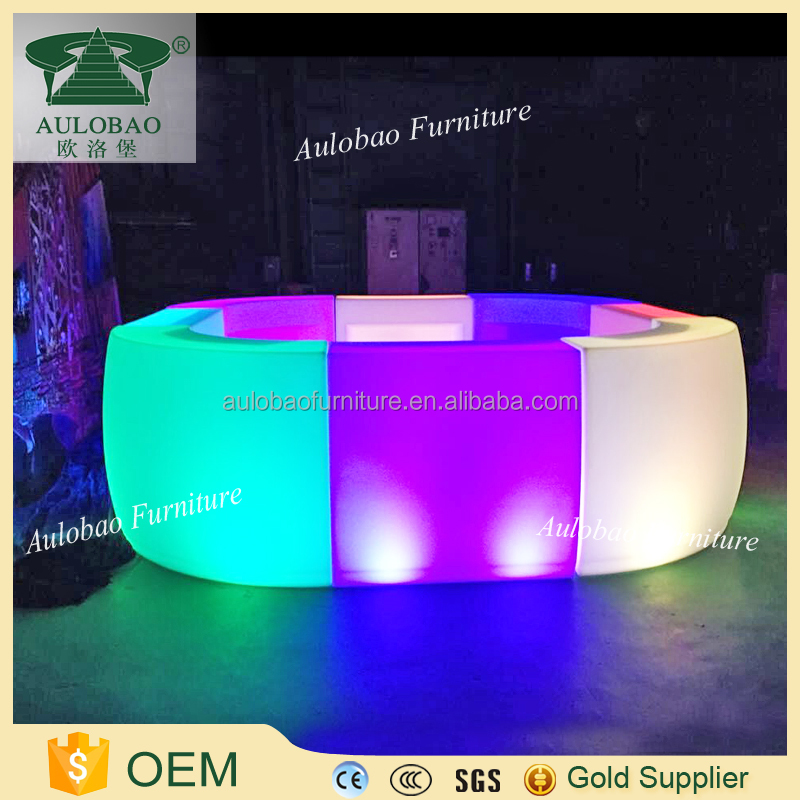Glowing acrylic high top led cocktail bar counter