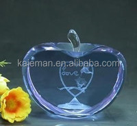 Crystal apple shape crafts home decoration /wedding gifts