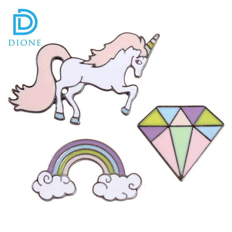 <strong>Custom</strong> Accepted Newest Kawaii Unicorn Diamond Cloud Metal Enamel Brooch Pin Badge