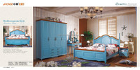 solid wood Mediterranean blue color kids bed very cheap price