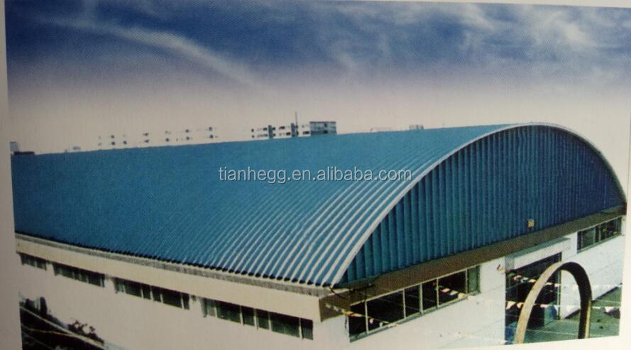 Prefabricated arch shape roof steel frame warehouse