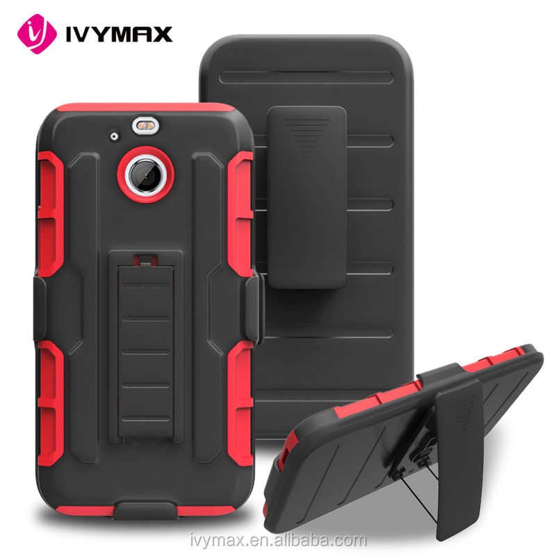 IVYMAX factory wholesale hybrid hard case cover belt clip holster for HTC BOLT