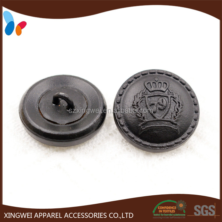 black leather covered shank button for men's suits