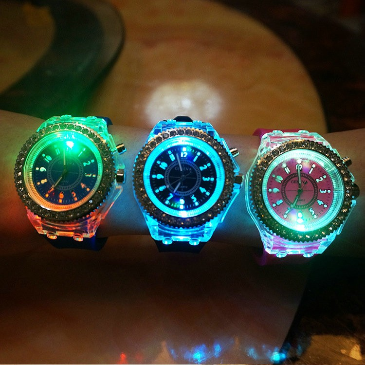 Han edition hollow-out led luminous light-emitting crystal watch students watch Geneva watch