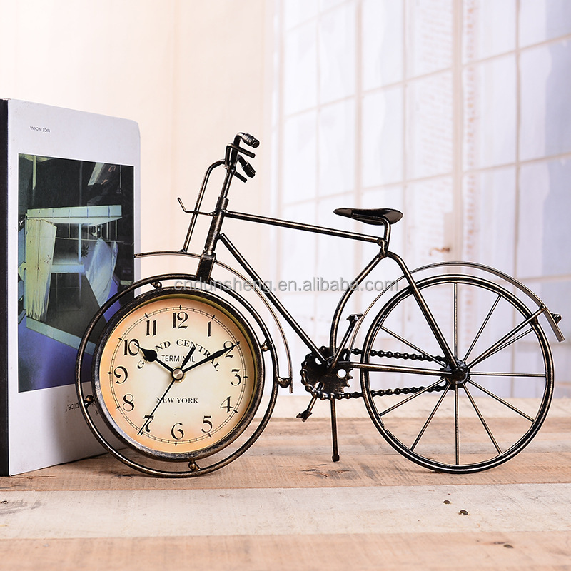 Creative antique wrought iron bicycle single sided metal table clock