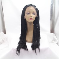 Ombre Dark Root Mixed Grey Braided Wigs Synthetic Hair Heat Resisitence Lace Front Wigs for Black Women
