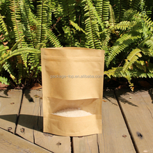 Wholesale china made natural stand up reusable aluminium vacuum brown paper pouch with zipper for packing cooked food