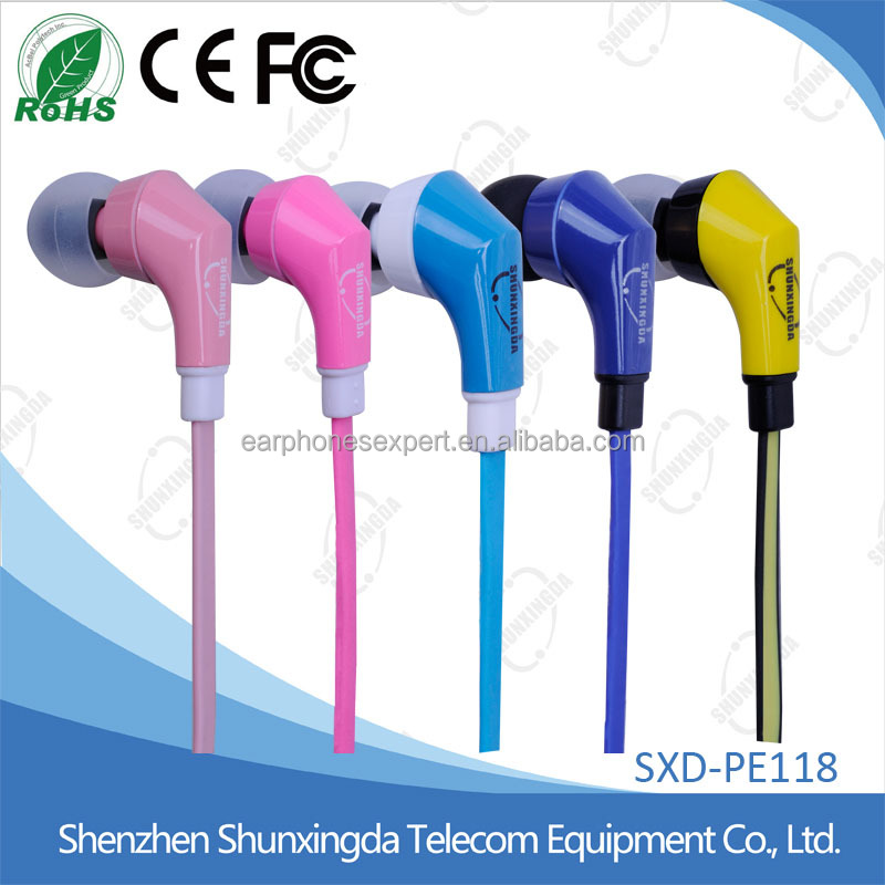 Flat cable high quality In-Ear Stereo plastic earbuds mobile earphone for all mobile phones with speaker & MIC