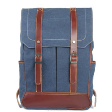 2016 Good quality Washed Canvas Leather Convertible Laptop Backpack Bag With Straps for Shoulder