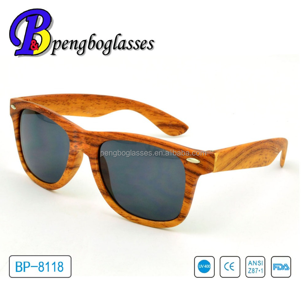 UV400 scratch resistant custom logo wooden sunglasses