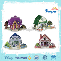 Colorful paper puzzle model miniature house toys for kid