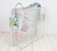 transparent printed vinyl pvc zipper gift shoulder bag with long fabric handle