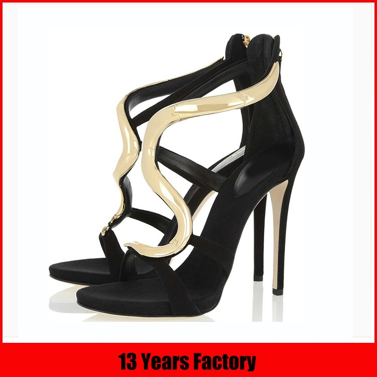 Latest ladies shoes design with lace up thin high heel wholesale ladies sandals