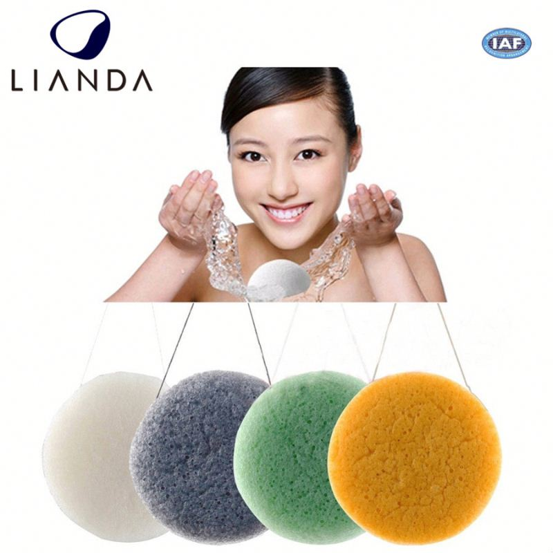 100% medical konnyaku sponge,100% natural green tea konjac sponge,only natural fiber konjac sponge facial and skin cleansing