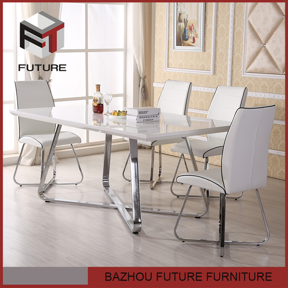 Modern wooden MDF fireproof dining table and chair set