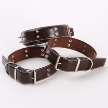 Good Quality Rivet Dog Collar Leather, Large Dog Wholesale Pet Leather Collar For Dog