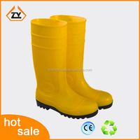 CE yellow woman industrial mining rain boot heavy duty pvc gum boots anti-impact ankle neoprene wellington boots