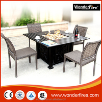 Square Outdoor Aluminum Gas Firepit table/Rectangle Outdoor Fire Pit