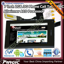 cheap 7 inch tablet pc with 3g mobile phone function- 3g per tablet android