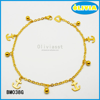 Olivia European fashion women jewelry stainless steel gold anchor charm bracelet
