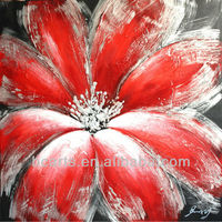 New drawing wall art picture beautiful botanical oil painting red flower painting