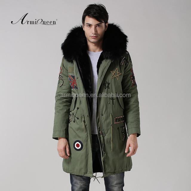 UK Union Flag Mens long fur parka,military fahion MR. parka,parka jackets with Fox fur black mens winter long style coat