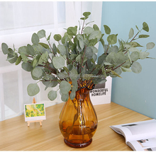 Fake Leaf Crafts Artificial Flower Silk Eucalyptus Stems Silk Flowers Foliage Plants Leaves For Wedding Bouquets
