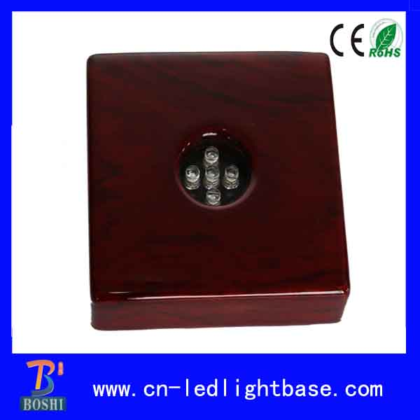 Best selling square piano red lacquer wooden led night light base