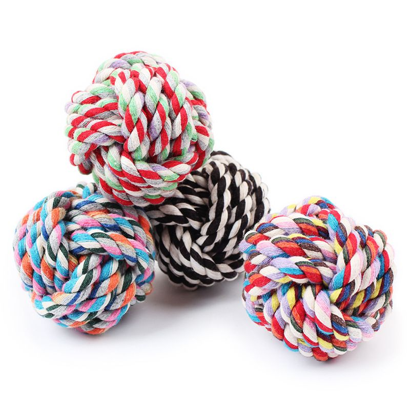 Hot dog Wucaimian knot woven cotton rope toy ball ball ball toy trumpet dog bite