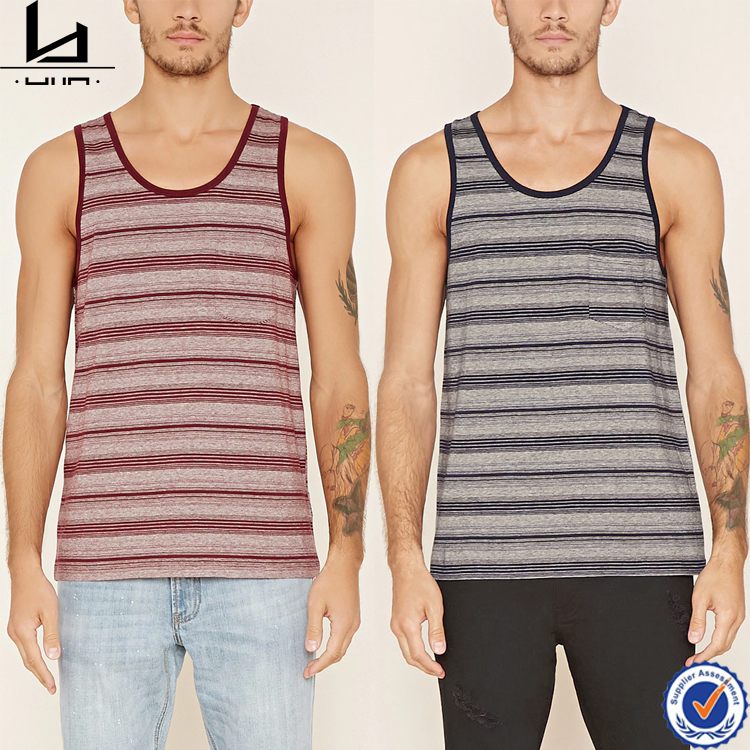 oem manufacturer custom clothing 100% cotton knit striped pocket tank top men