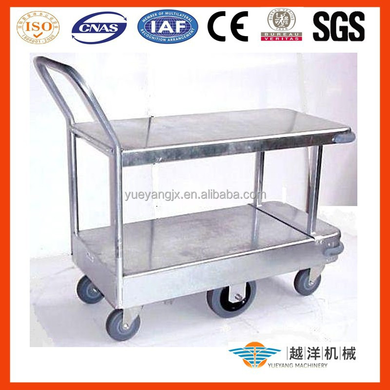 Galvanize Stock Hand Trolley Cart With Double Decks