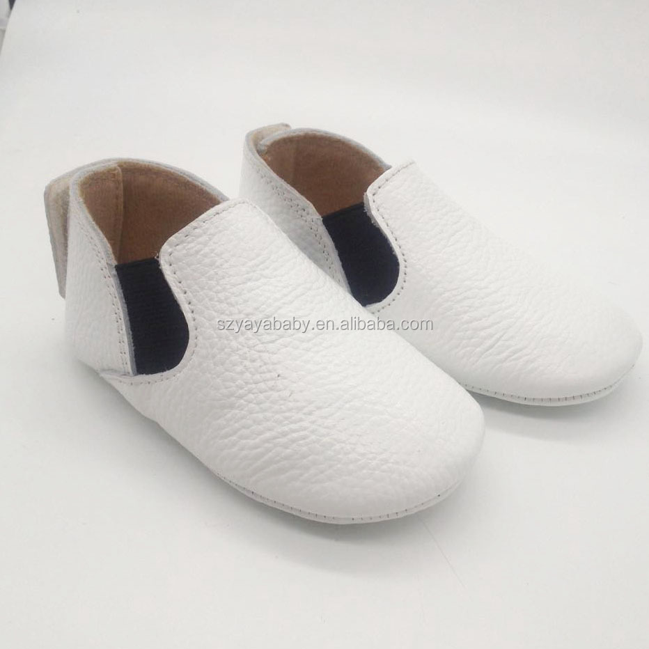 Wholesale toddler moccasins shoes soft sole leather baby boots with black elastic