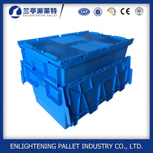 60l storage nesting turnover tote Attached Lid plastic insert box