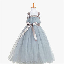 Summer Hot Sale Handmade Grandma Grey Girls' Chiffon Dresses Princess Dress Costume with Lovely Bow